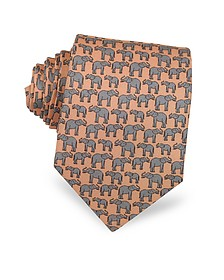 Elephants Print Silk Narrow Tie - Laura Biagiotti