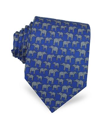 Laura Biagiotti - Elephants Print Silk Tie