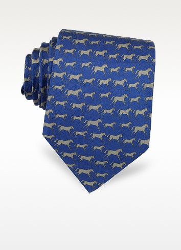 Horses Print Silk Tie - Laura Biagiotti