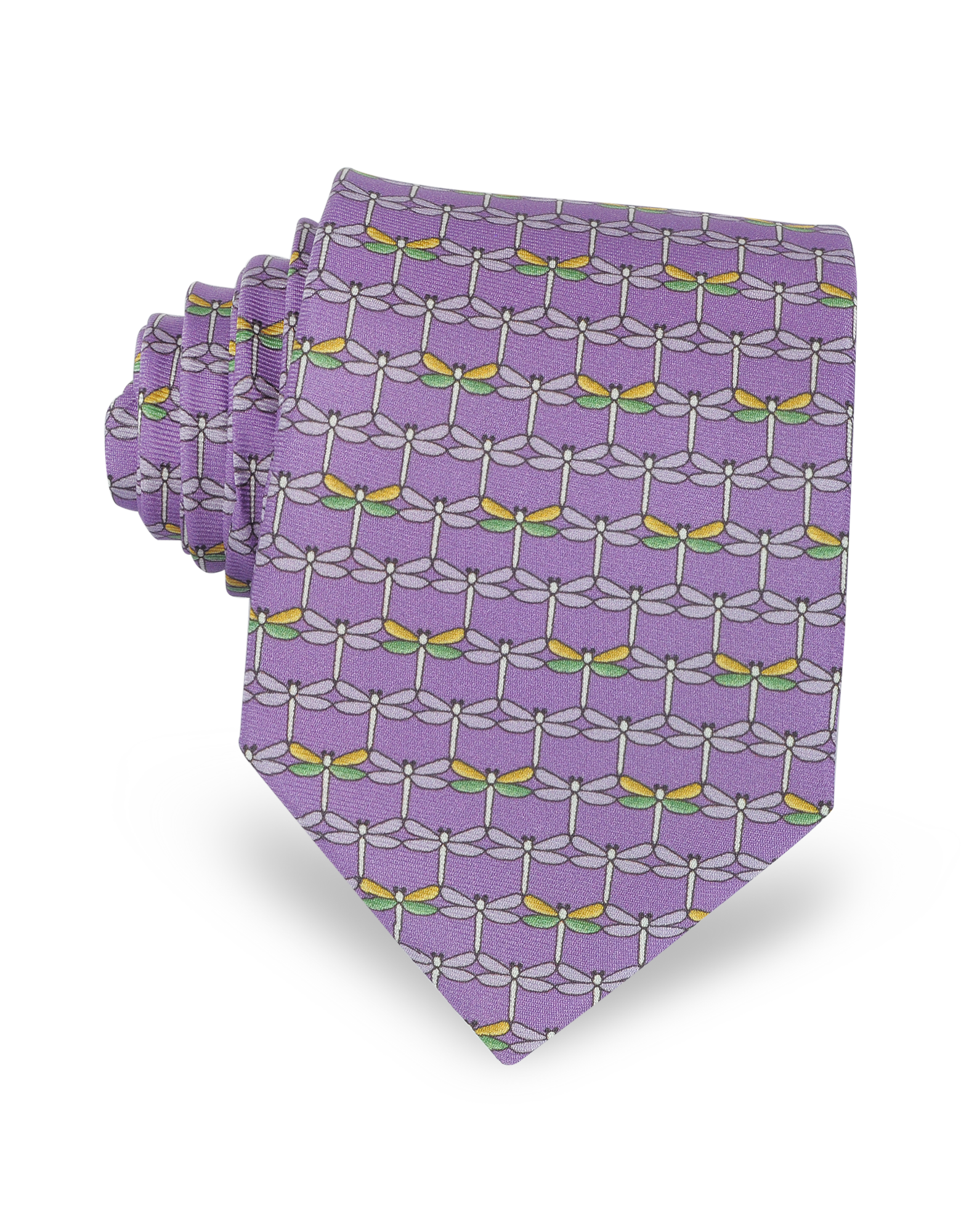 Image of Purple Dragonflies Print Twill Silk Tie
