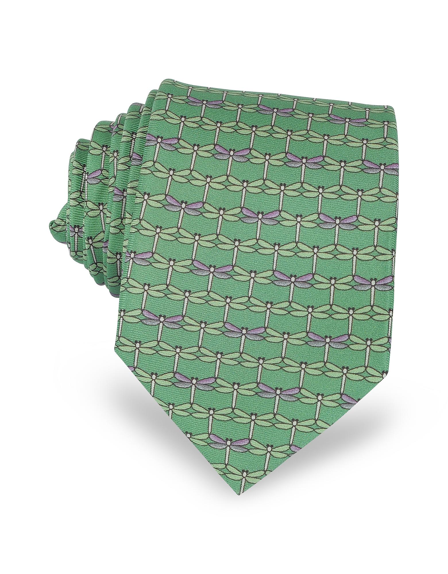 Зеленый Галстук из Твилового Шелка с Принтом Стрекоз
