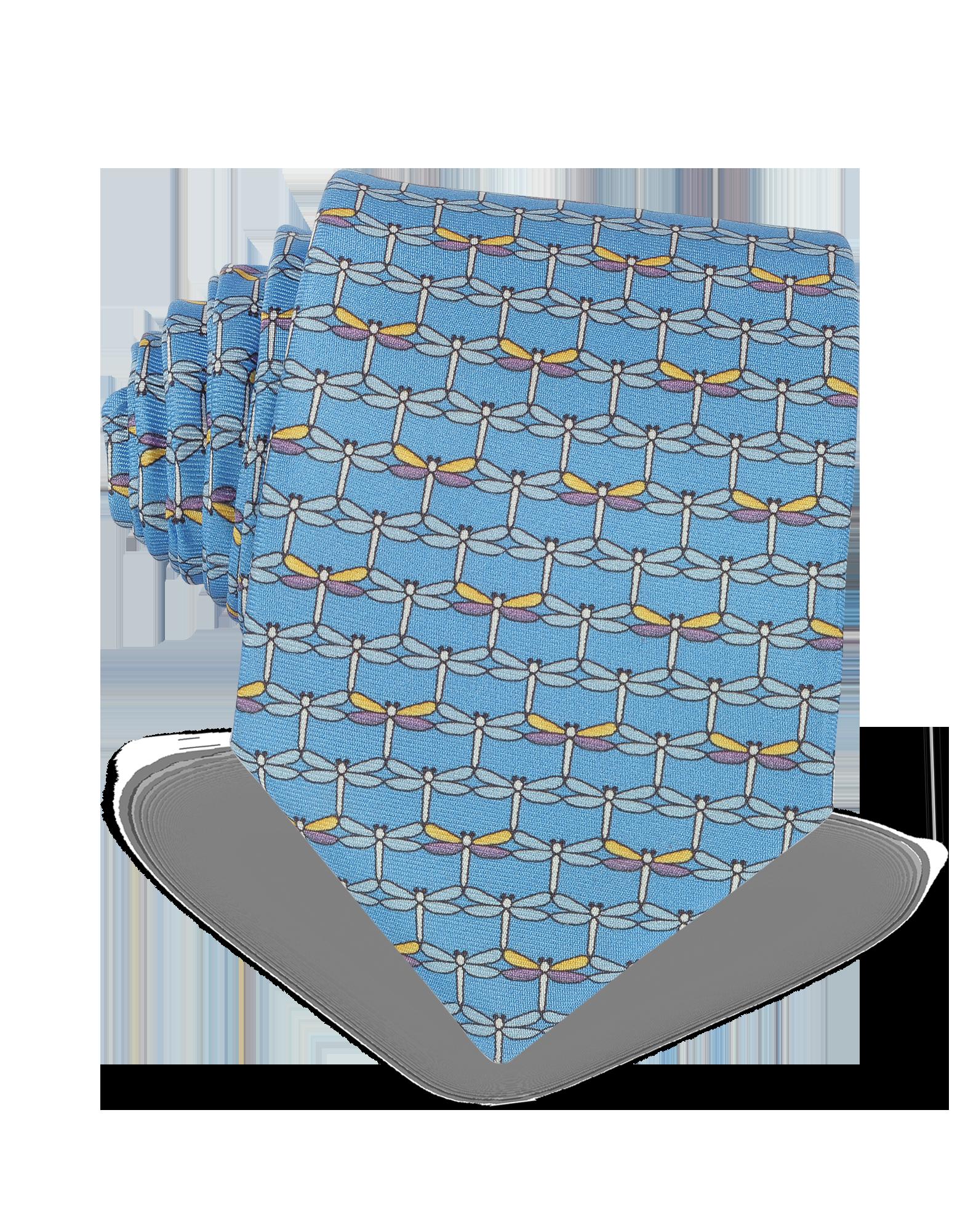 Image of Light Blue Dragonflies Print Twill Silk Tie