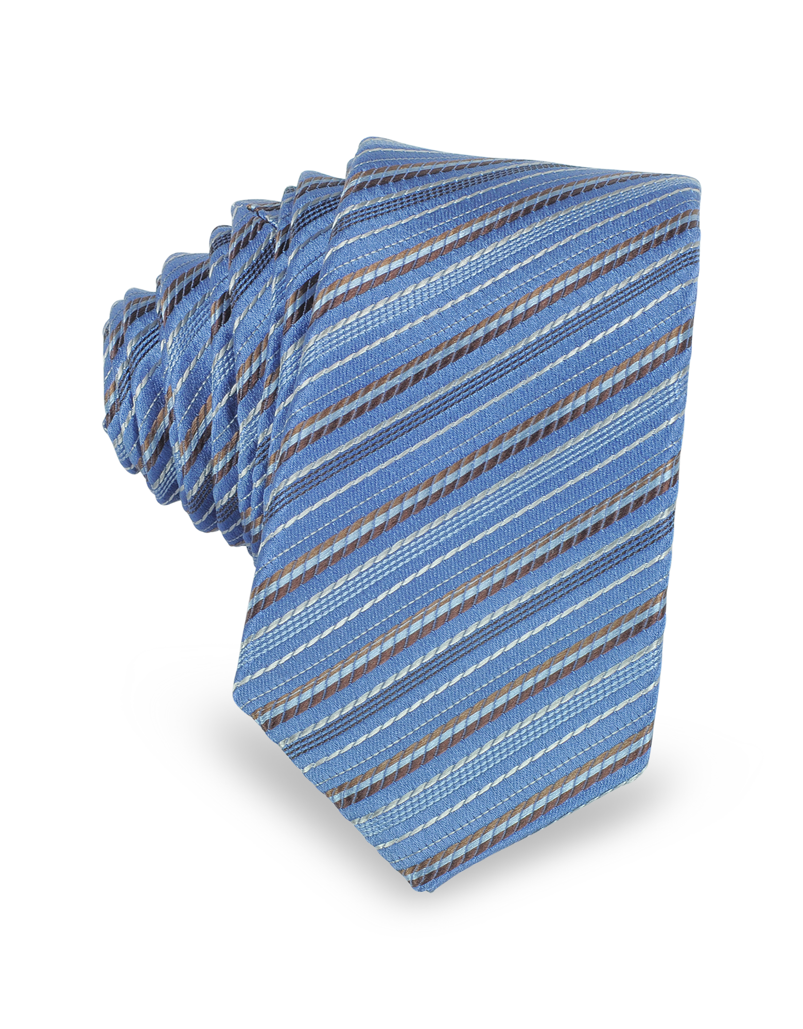 Image of Light Blue and Brown Diagonal Stripe Woven Silk Extra-Narrow Tie