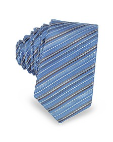 Light Blue and Brown Diagonal Stripe Woven Silk Extra-Narrow Tie - Laura Biagiotti