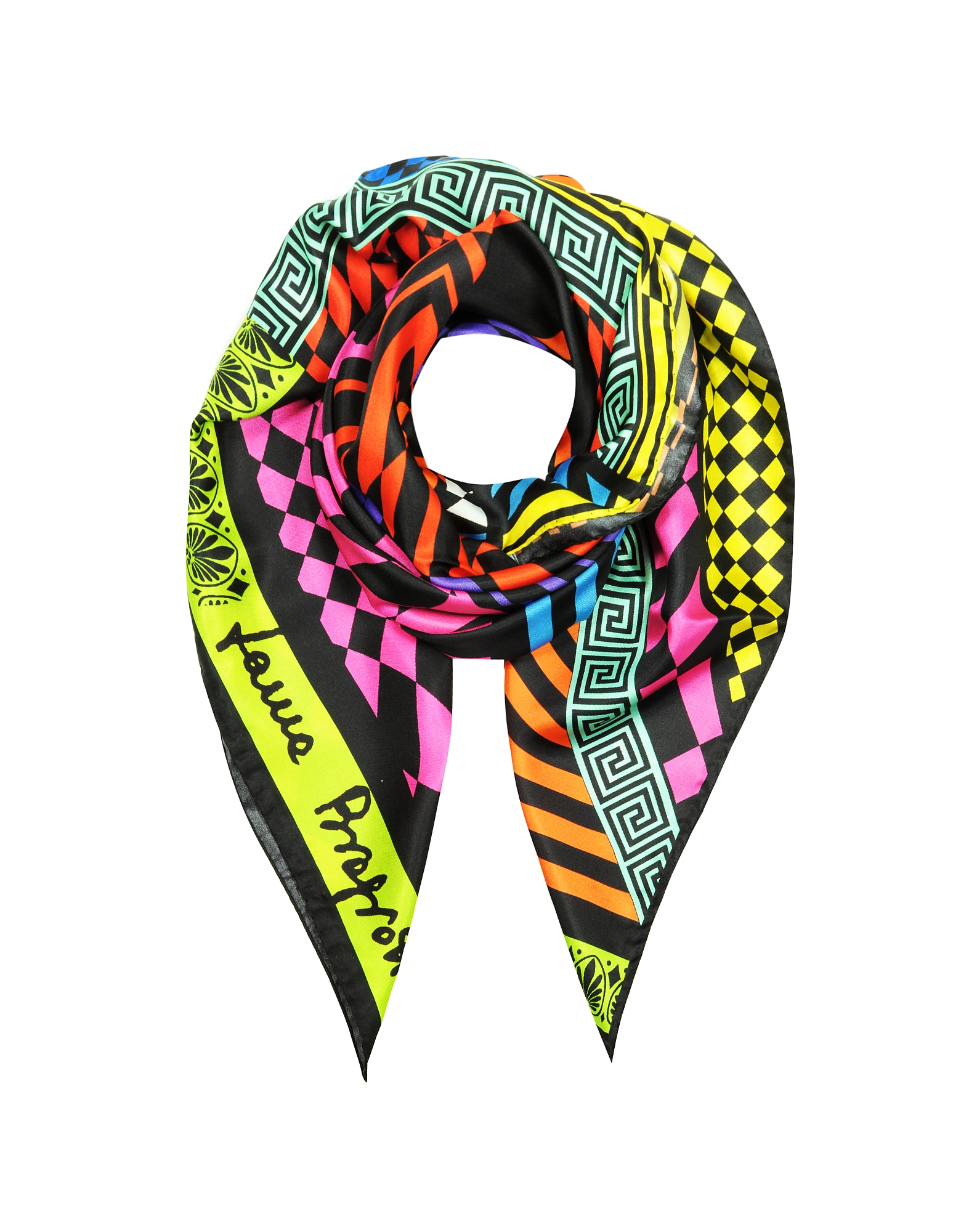 Laura Biagiotti Designer Scarves, Optical Print Twill Silk Square Scarf