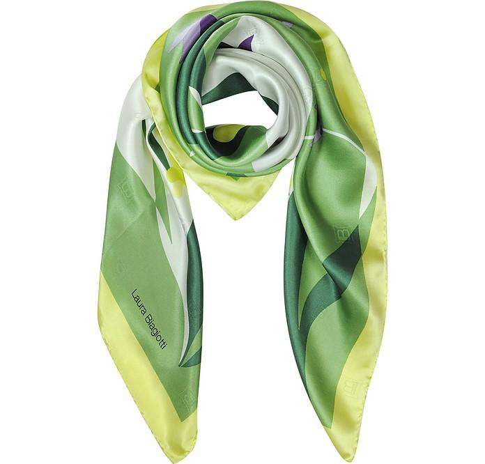 Floral Print Twill Silk Square Scarf - Laura Biagiotti