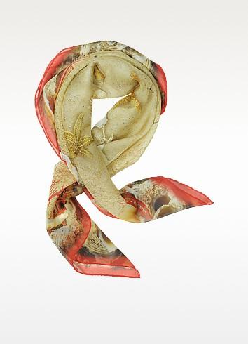 Starfish Print Chiffon Silk Square Scarf - Laura Biagiotti