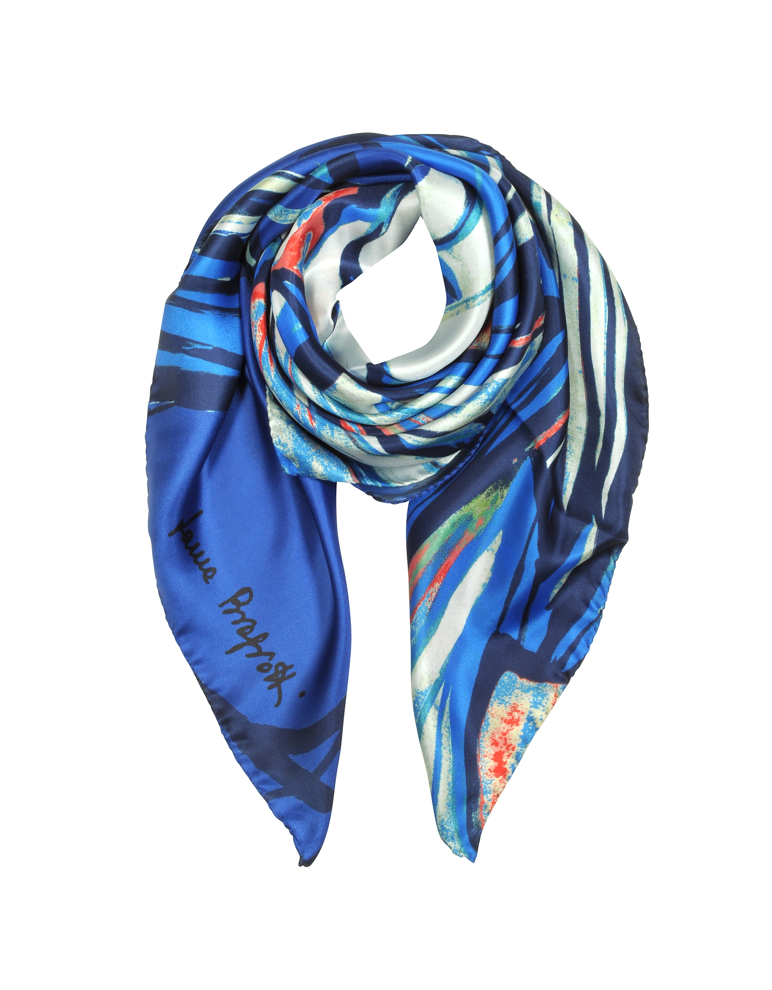Abstract Floral Print Twill Silk Square Scarf