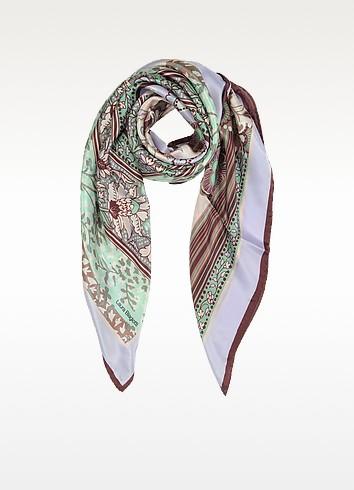 Floral Print Silk Square Scarf - Laura Biagiotti