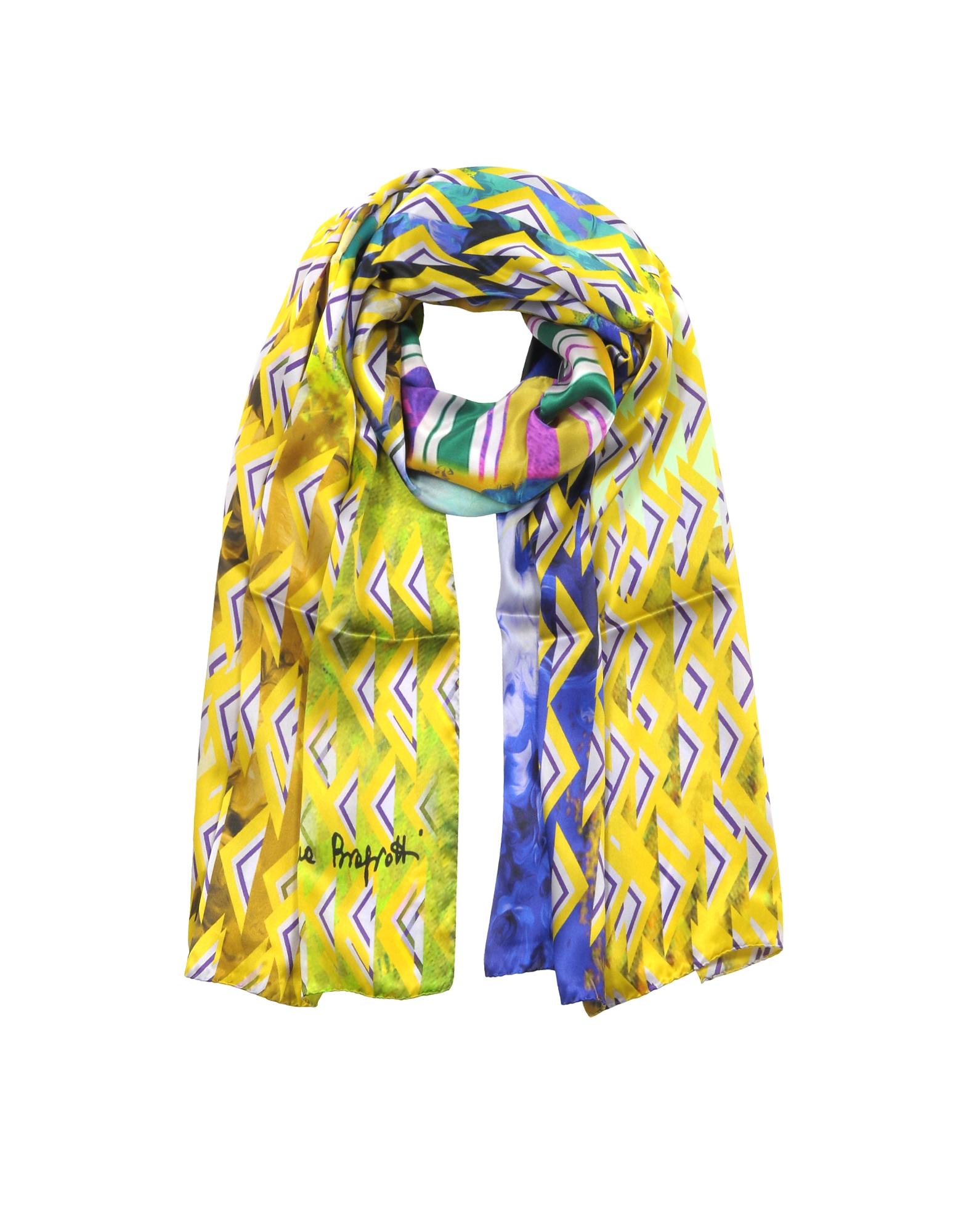 Triangle Printed Twill Silk Stole, Yellow