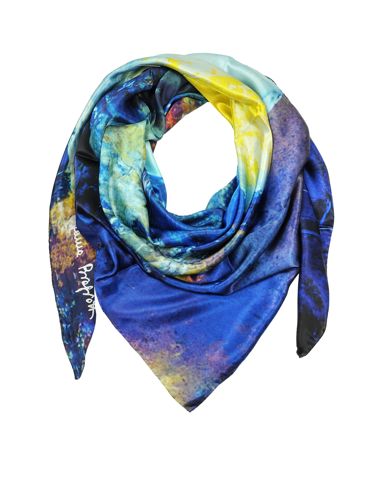 Multicolor Printed Twill Silk Oversized Scarf