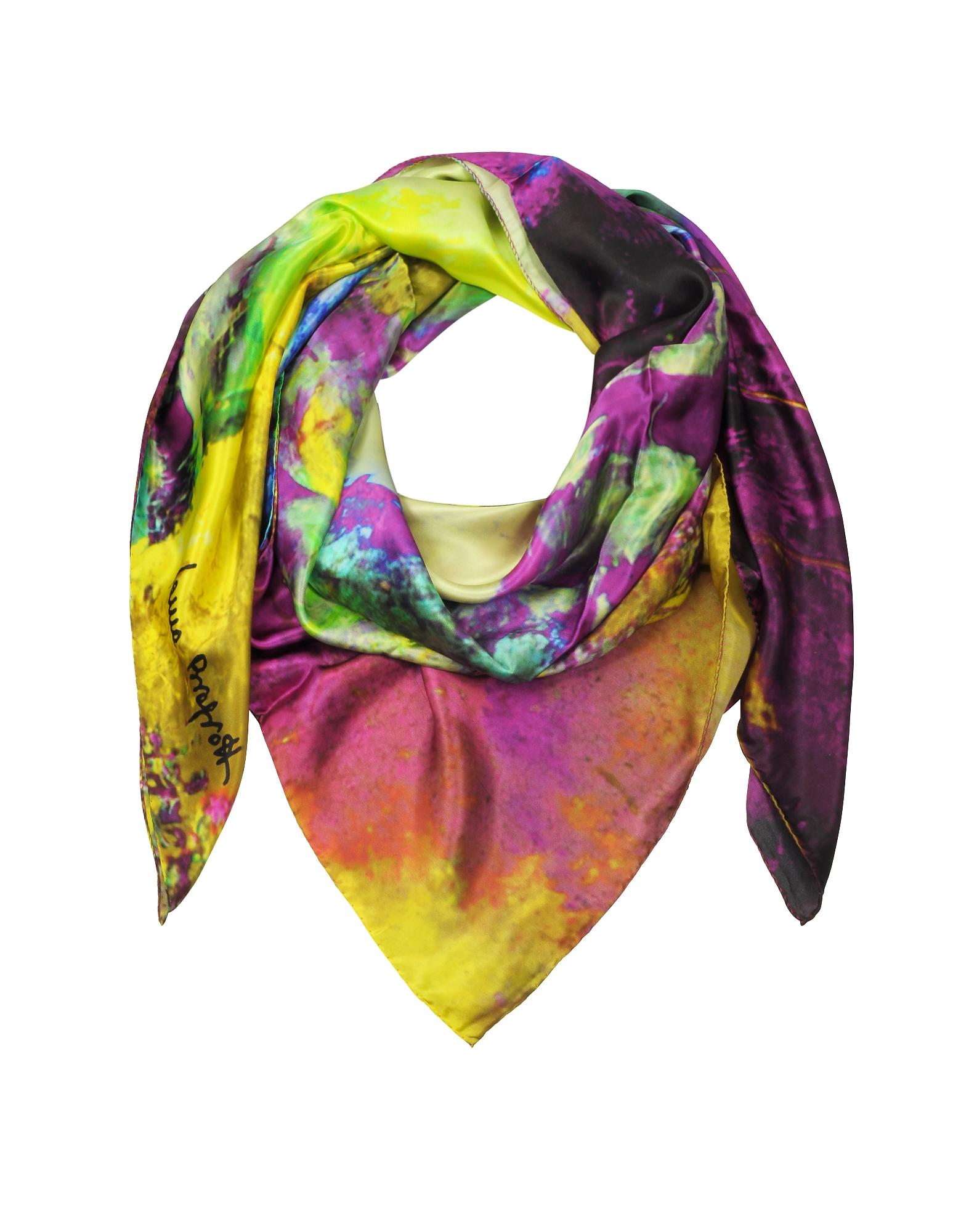 Multicolor Printed Twill Silk Oversized Scarf