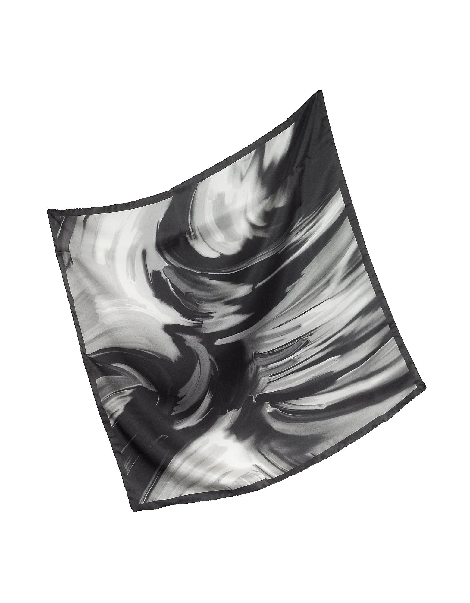 Waves Printed Twill Silk Bandana, Black