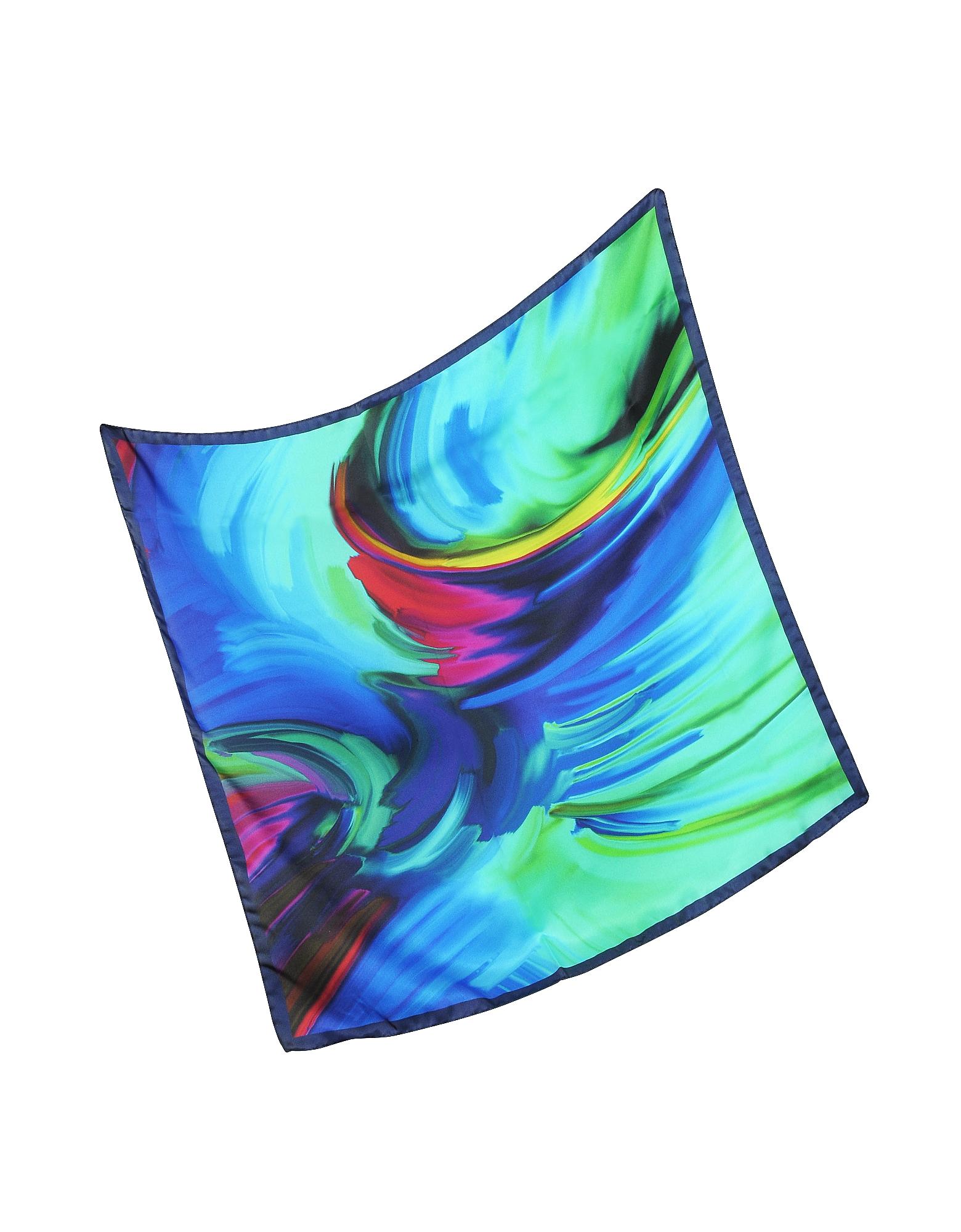 Waves Printed Twill Silk Bandana