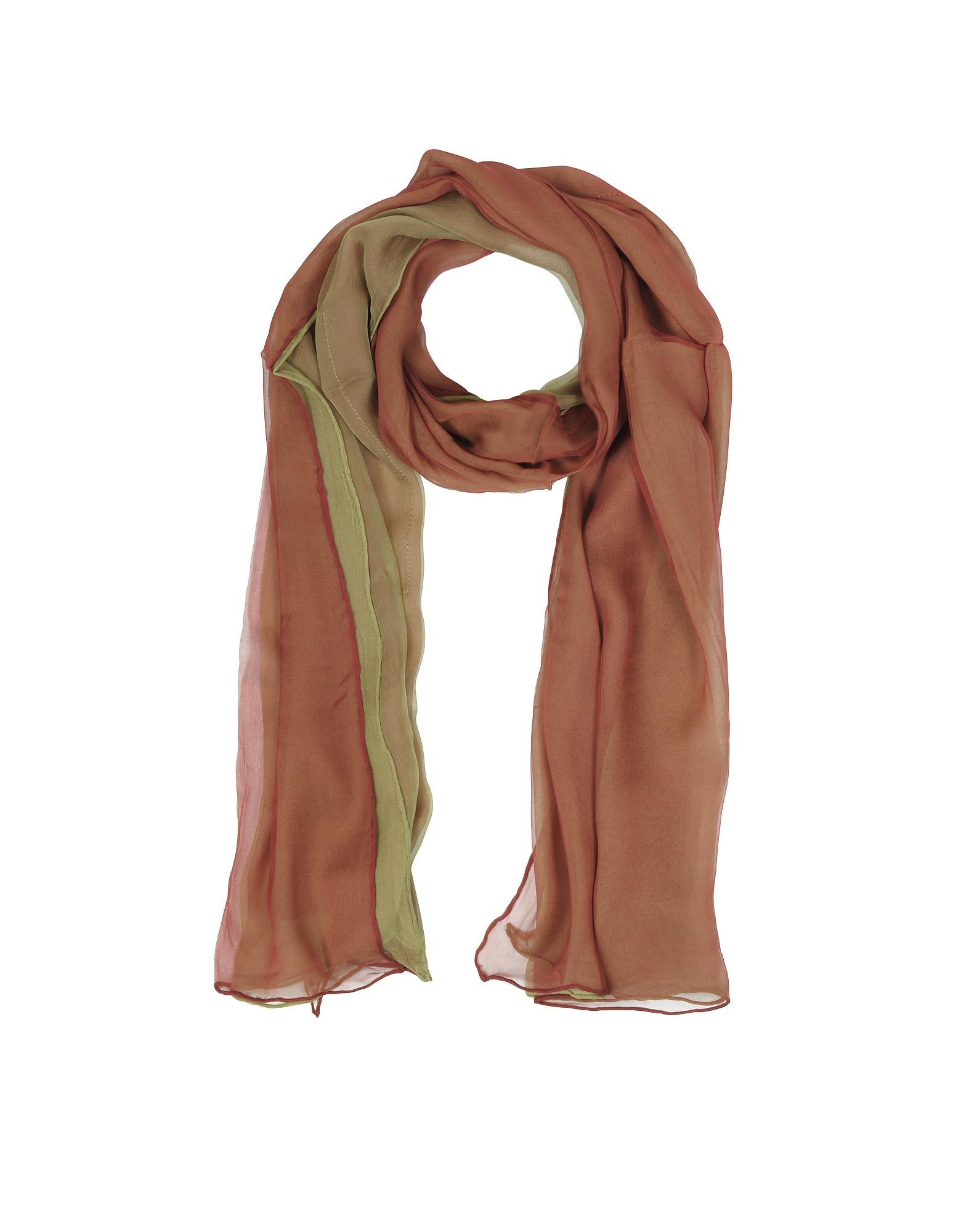 Laura Biagiotti Long Scarves, Gradient Burgundy/Light Green Silk Long Scarf