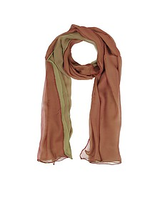 Gradient Burgundy/Light Green Silk Long Scarf - Laura Biagiotti