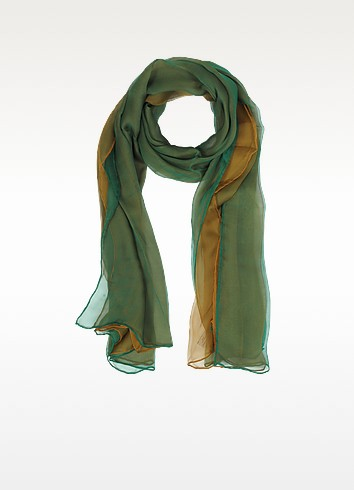 Gradient Green/Camel Silk Long Scarf - Laura Biagiotti