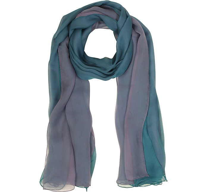 Gradient Turquoise/Lilac Silk Long Scarf - Laura Biagiotti