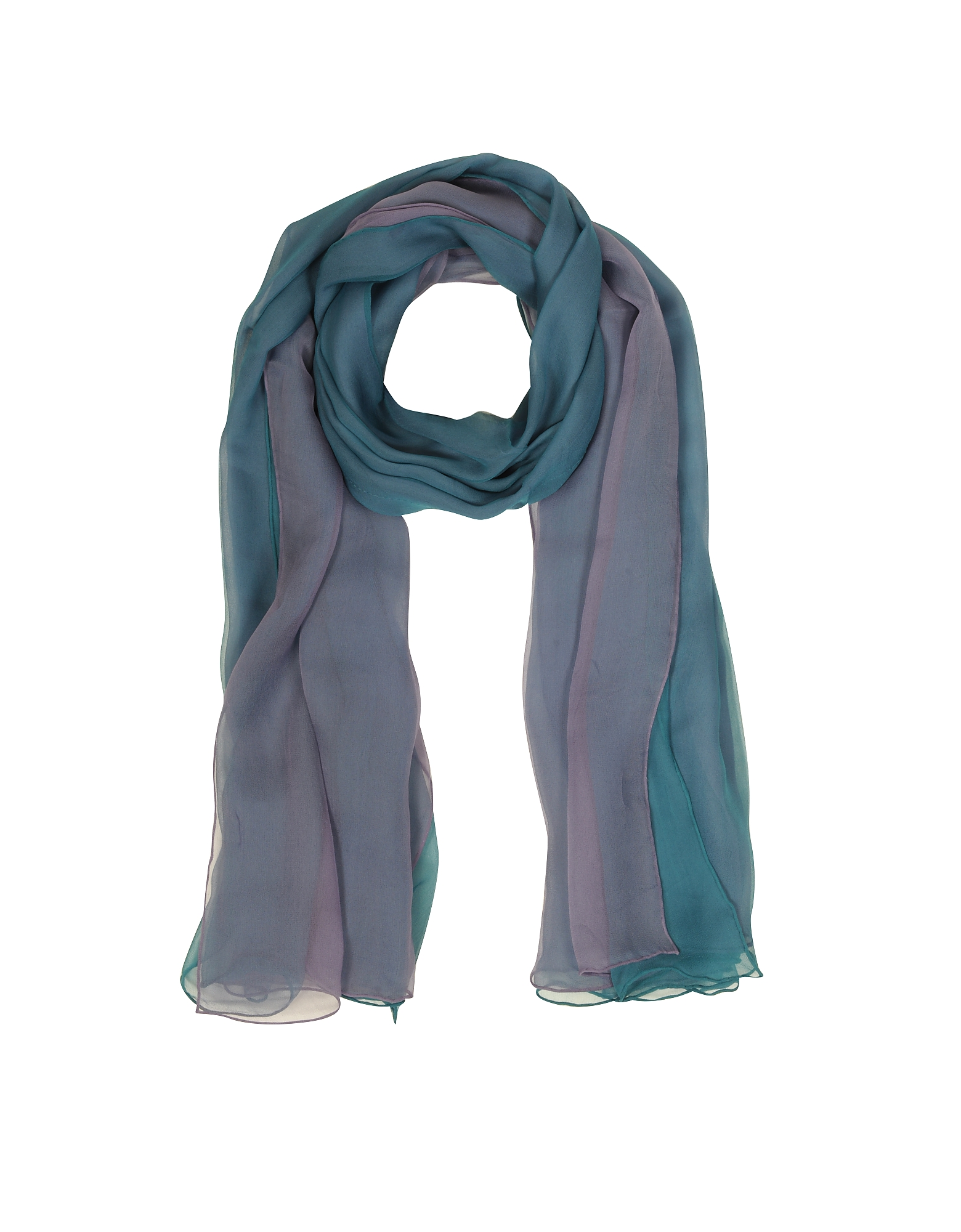 Gradient Turquoise/Lilac Silk Long Scarf