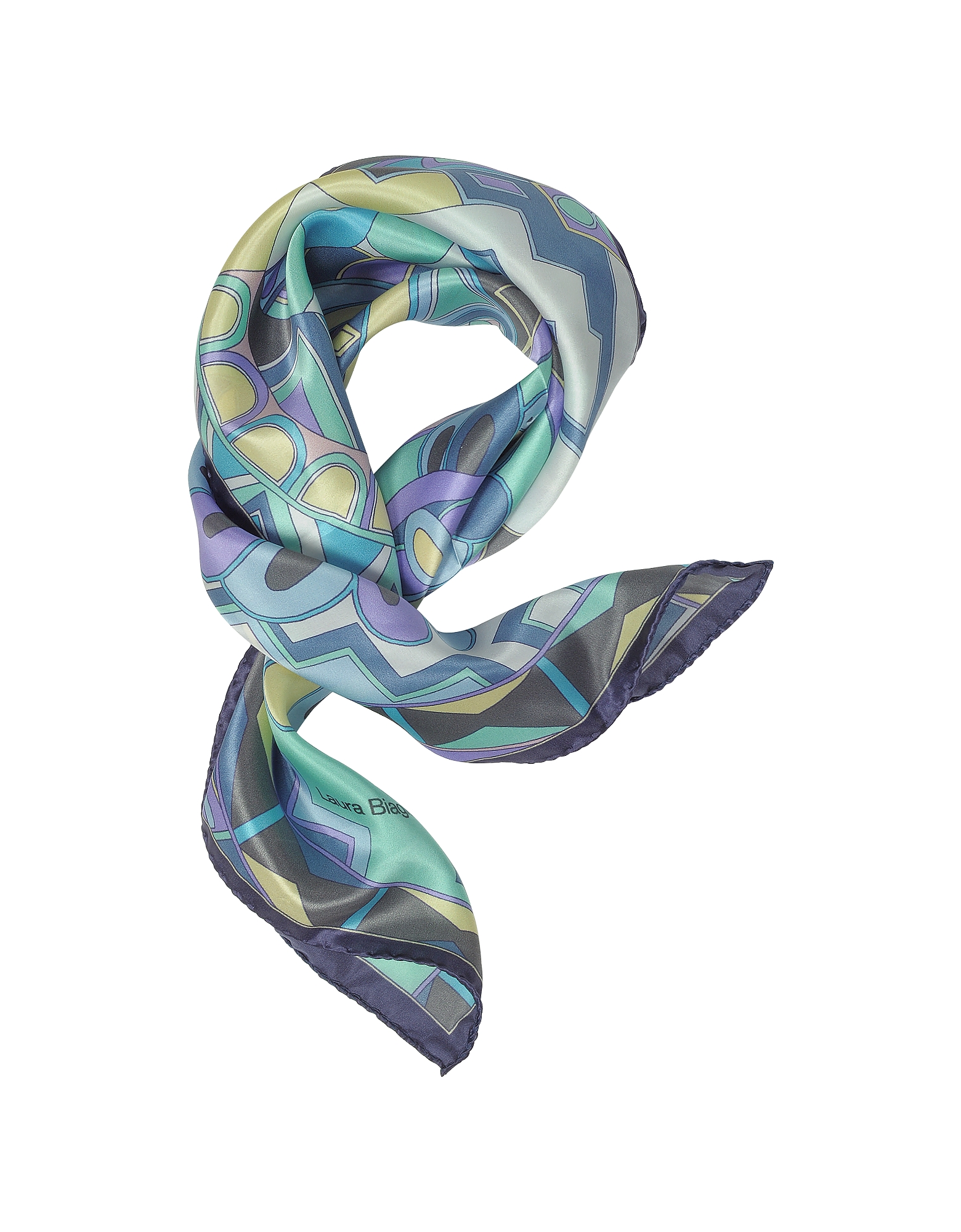 Laura Biagiotti Bandanas, Purple and Blue Floral & Geometric Print Satin Silk Bandana