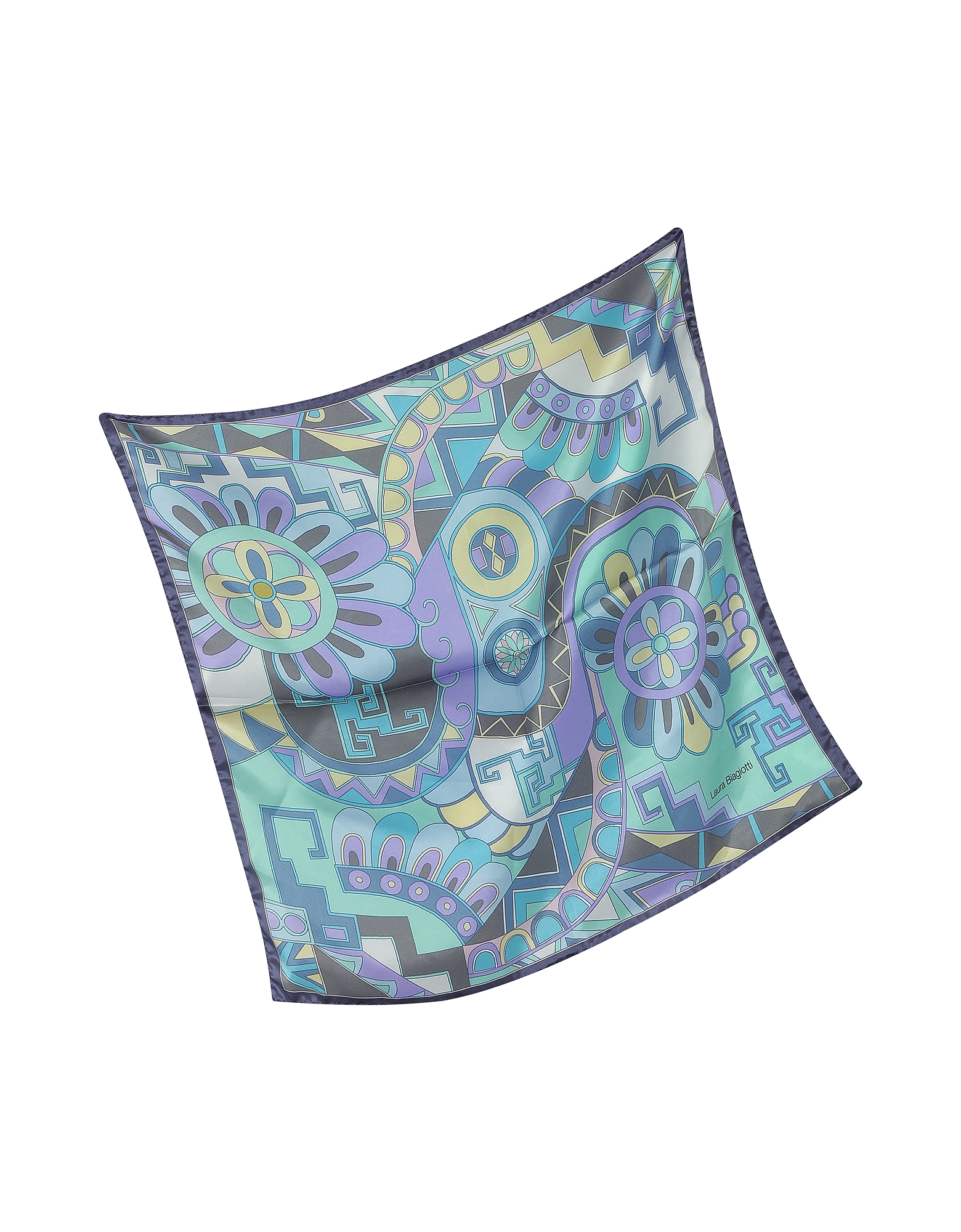 Purple and Blue Floral & Geometric Print Satin Silk Bandana от Forzieri.com INT
