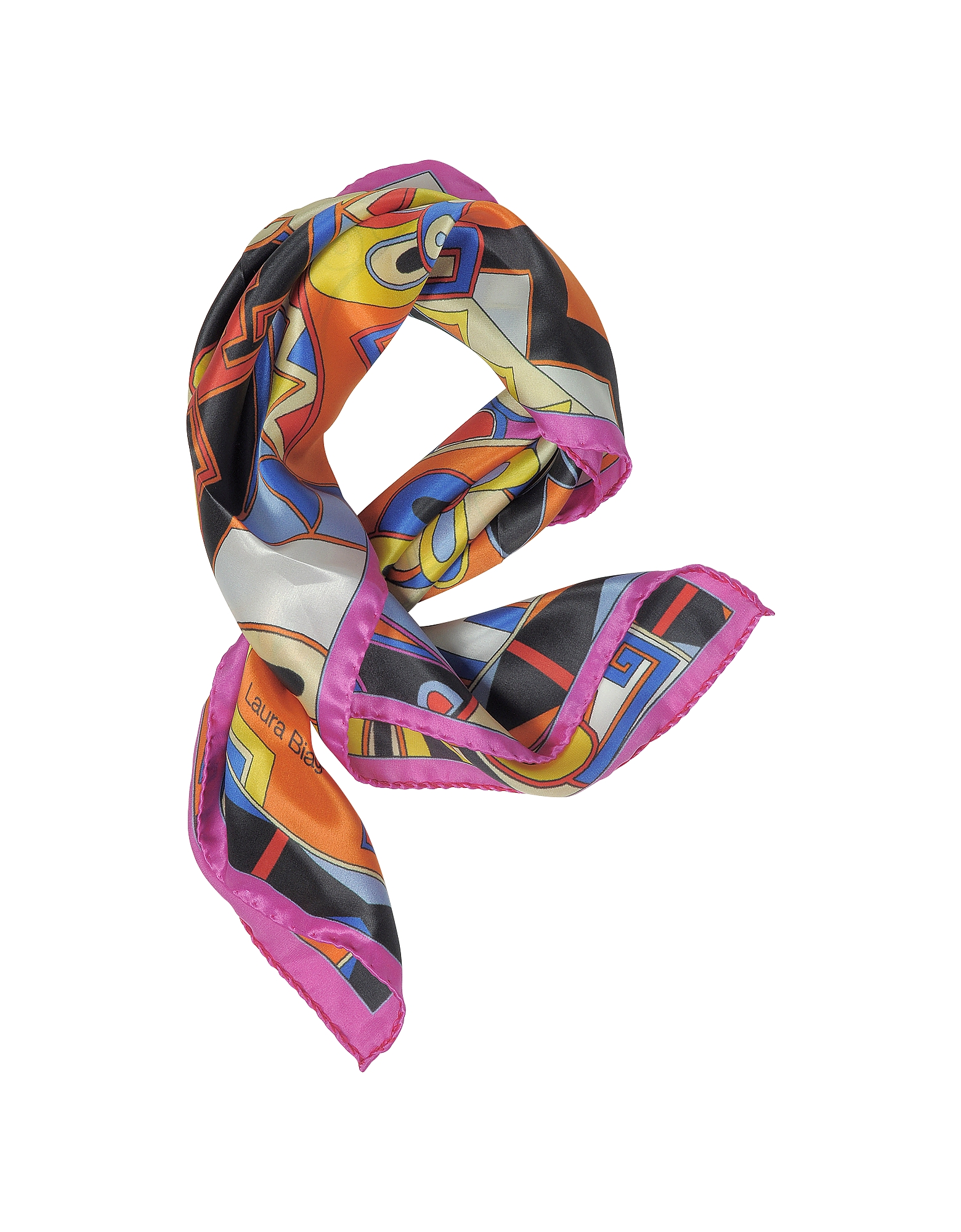 Laura Biagiotti Bandanas, Pink and Multicolor Floral & Geometric Print Satin Silk Bandana