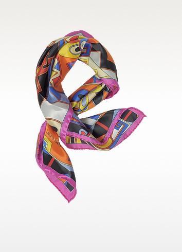 Pink and Multicolor Floral & Geometric Print Satin Silk Bandana - Laura Biagiotti