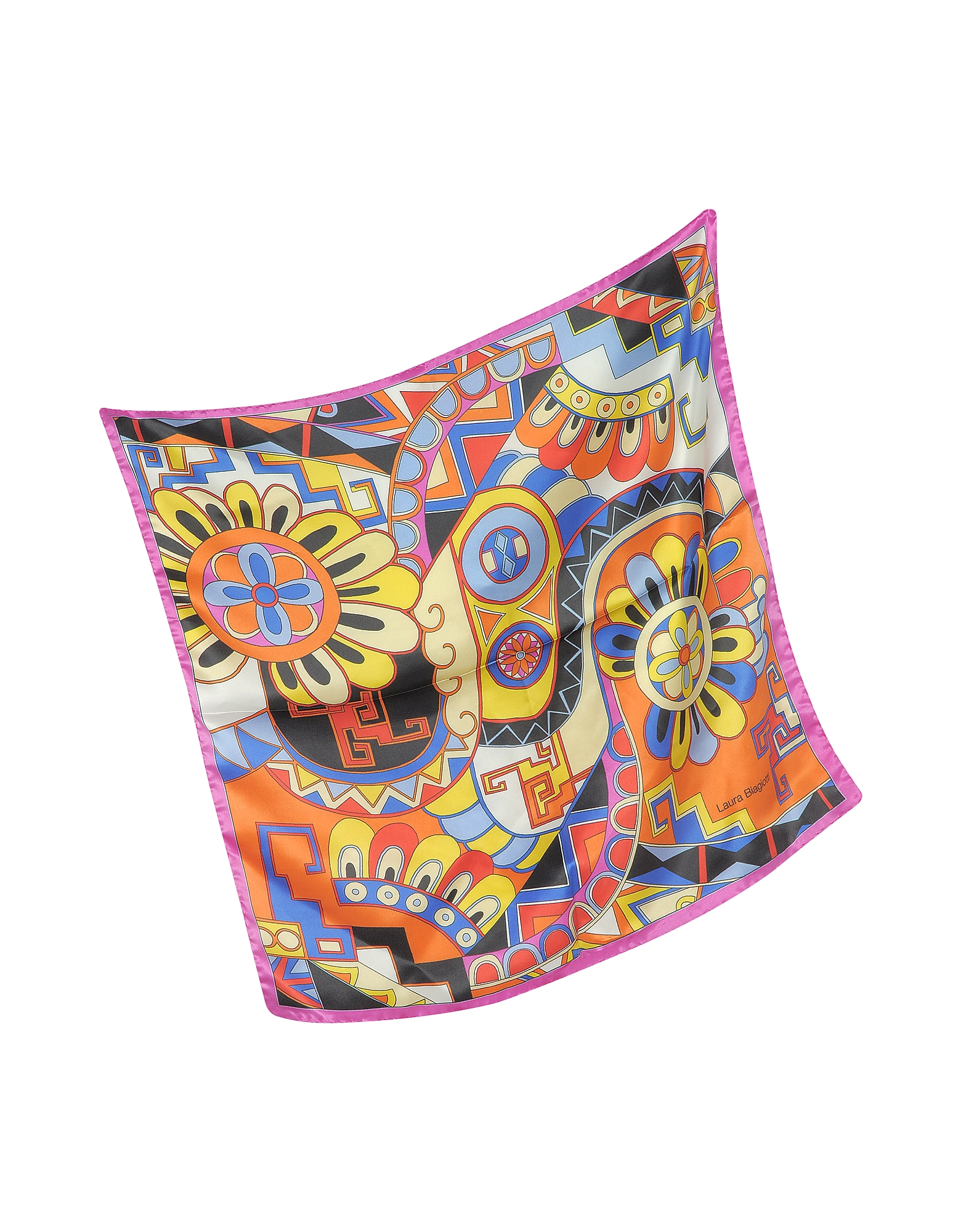 Pink and Multicolor Floral & Geometric Print Satin Silk Bandana от Forzieri.com INT