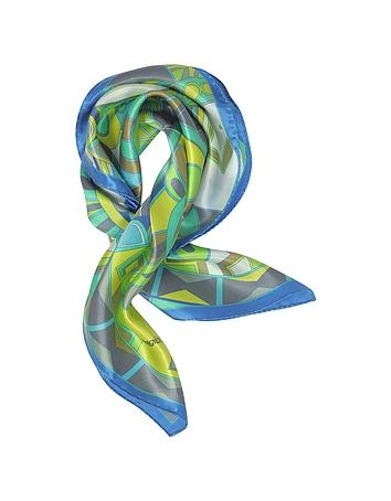 Laura Biagiotti - Blue and Green Floral & Geometric Print Satin Silk Bandana