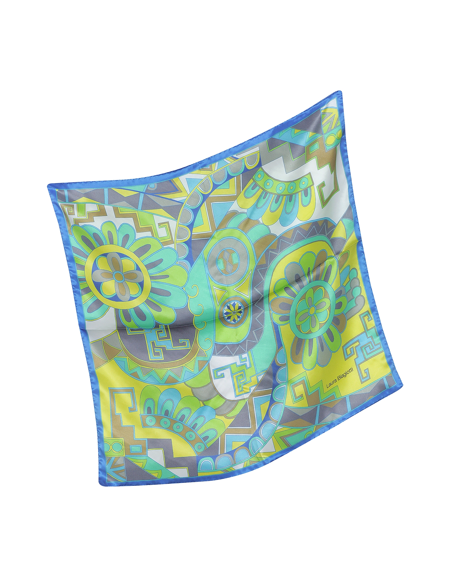 Blue and Green Floral & Geometric Print Satin Silk Bandana от Forzieri.com INT