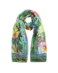 Emerald Green Tropical Printed Chiffon Silk Stole - Laura Biagiotti