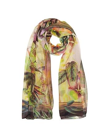 Laura Biagiotti - Burgundy Tropical Printed Chiffon Silk Stole