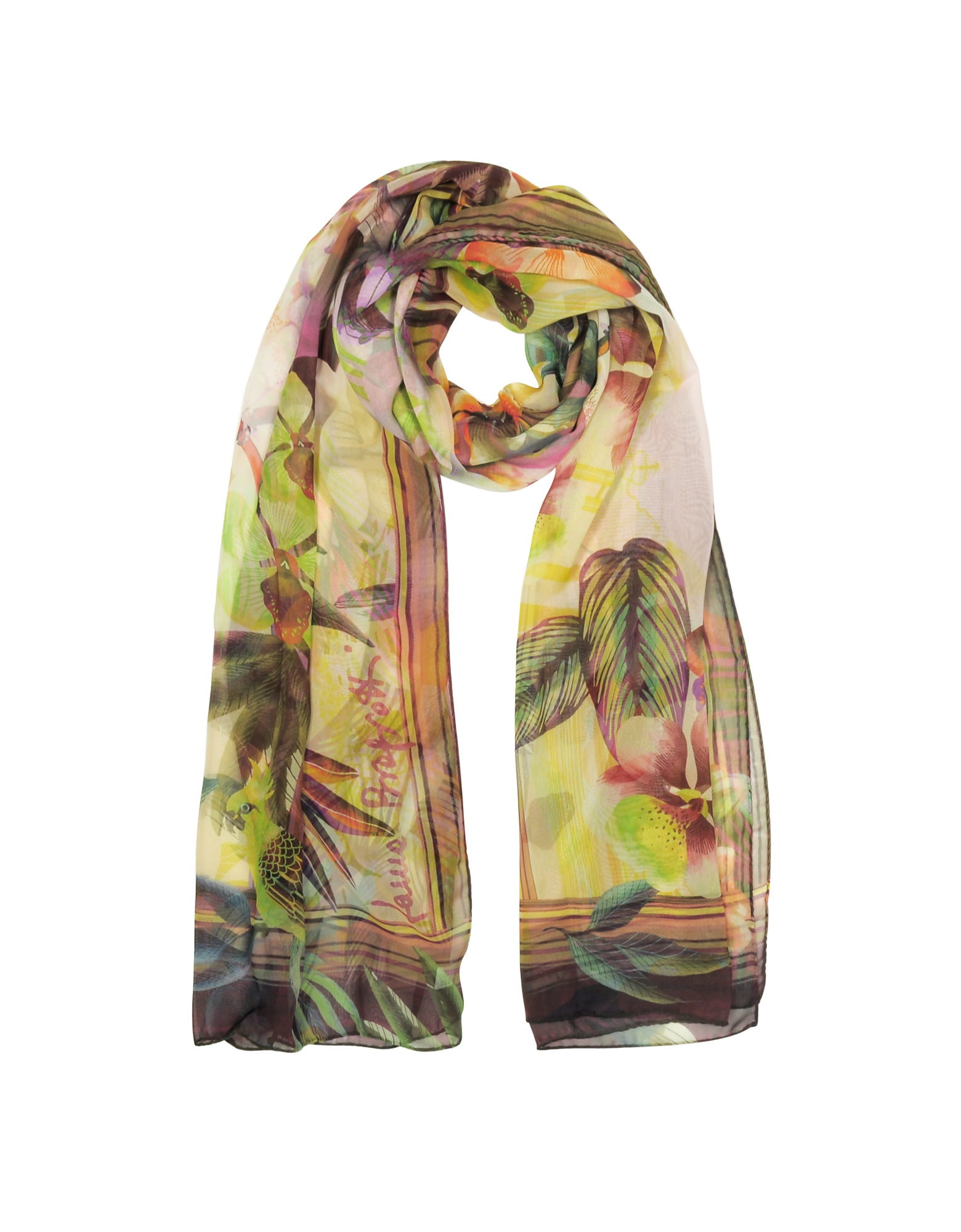 Image of Laura Biagiotti Designer Scarves, Burgundy Tropical Printed Chiffon Silk Stole