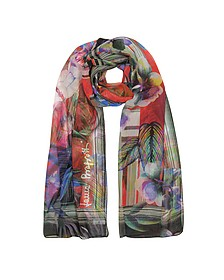 Purple Tropical Printed Chiffon Silk Stole - Laura Biagiotti