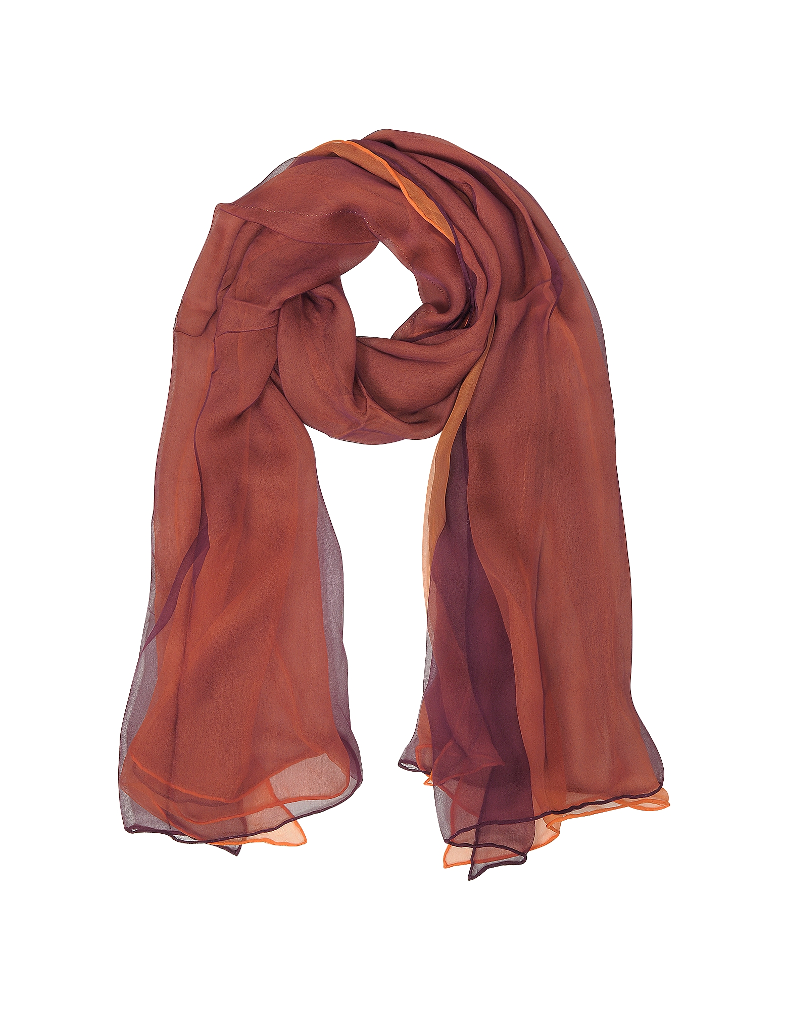 Image of Laura Biagiotti Designer Scarves, Burgundy and Orange Double Chiffon Silk Stole