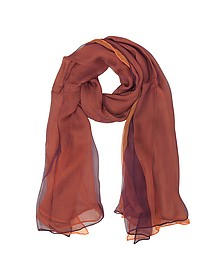 Burgundy and Orange Double Chiffon Silk Stole - Laura Biagiotti