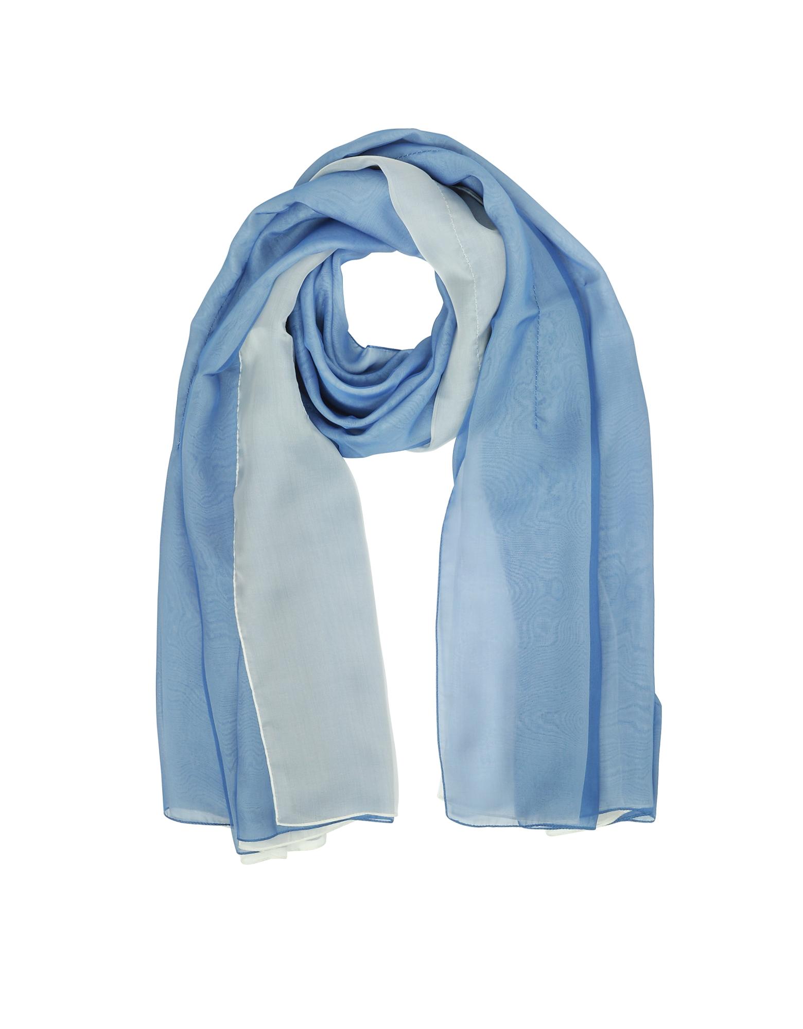 Double Chiffon Silk Stole, Light blue/white