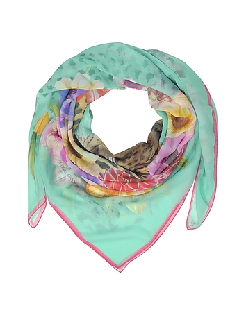 Laura Biagiotti - Turquoise Leopard and Flowers Print Silk Shawl
