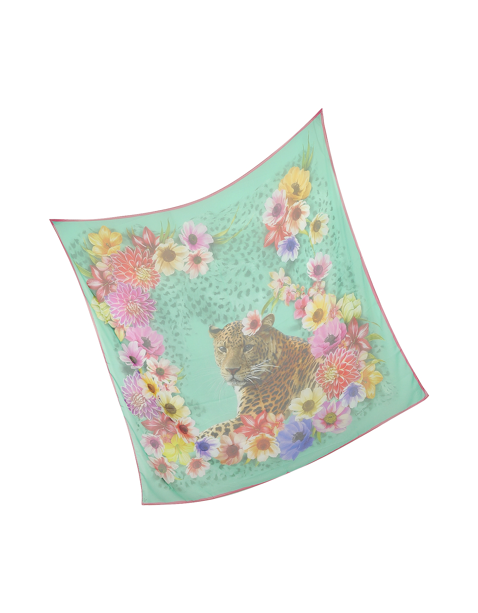 Turquoise Leopard and Flowers Print Silk Shawl от Forzieri.com INT
