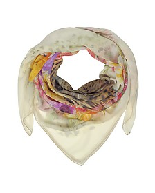 Beige Leopard and Flowers Print Silk Shawl - Laura Biagiotti