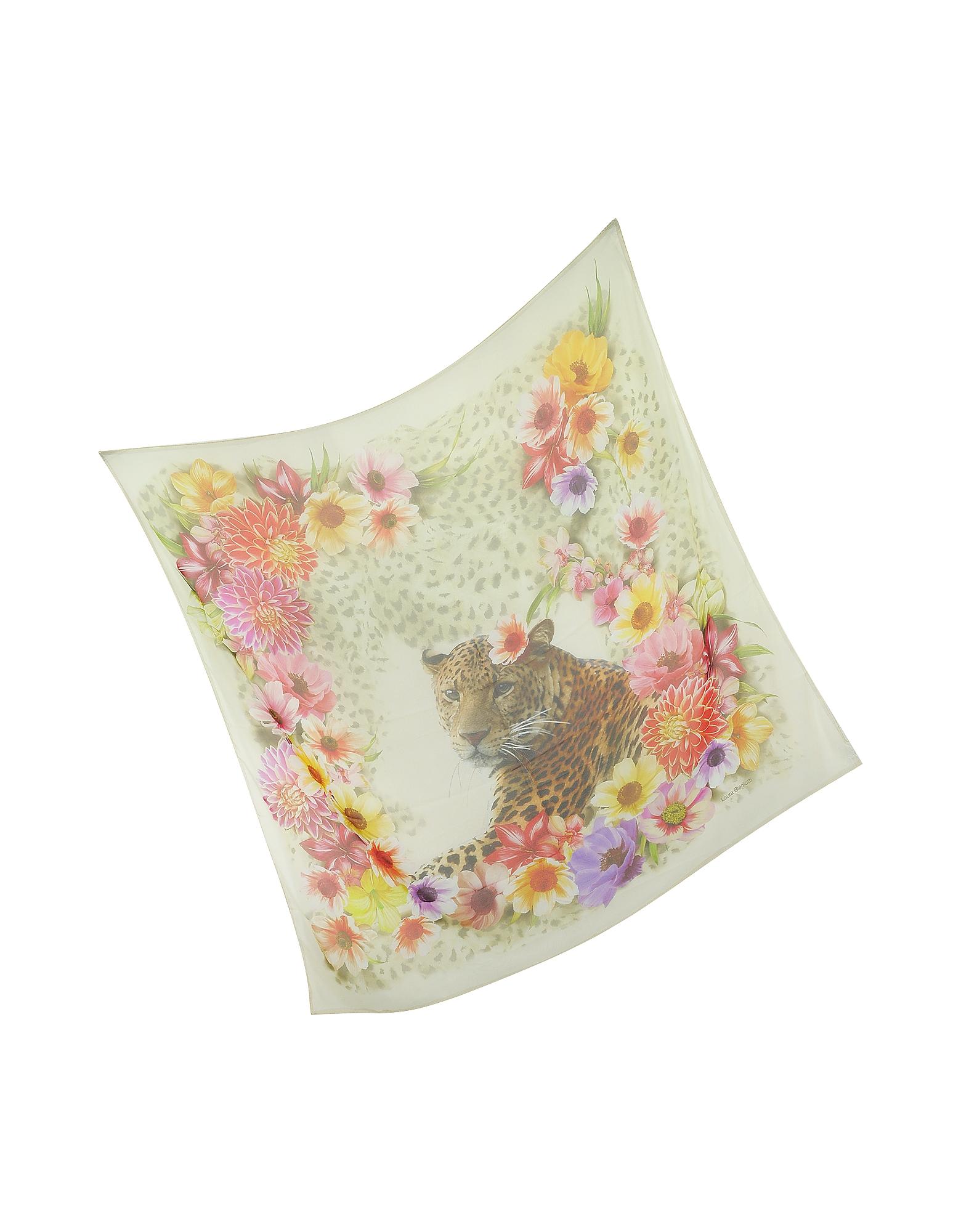 Beige Leopard and Flowers Print Silk Shawl от Forzieri.com INT