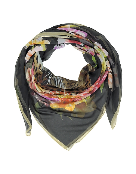 Laura Biagiotti Leopard and Flowers Schal aus bedruckter Seide in schwarz