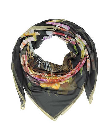 Black Leopard and Flowers Print Silk Shawl