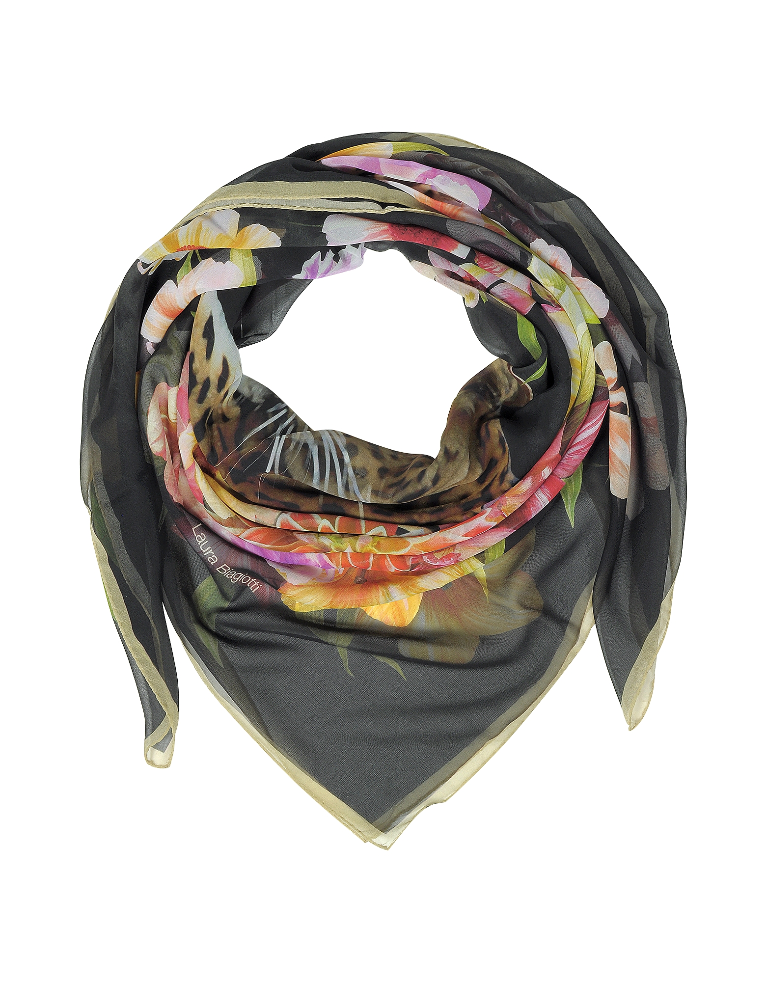 Image of Laura Biagiotti Designer Scarves, Black Leopard and Flowers Print Silk Shawl