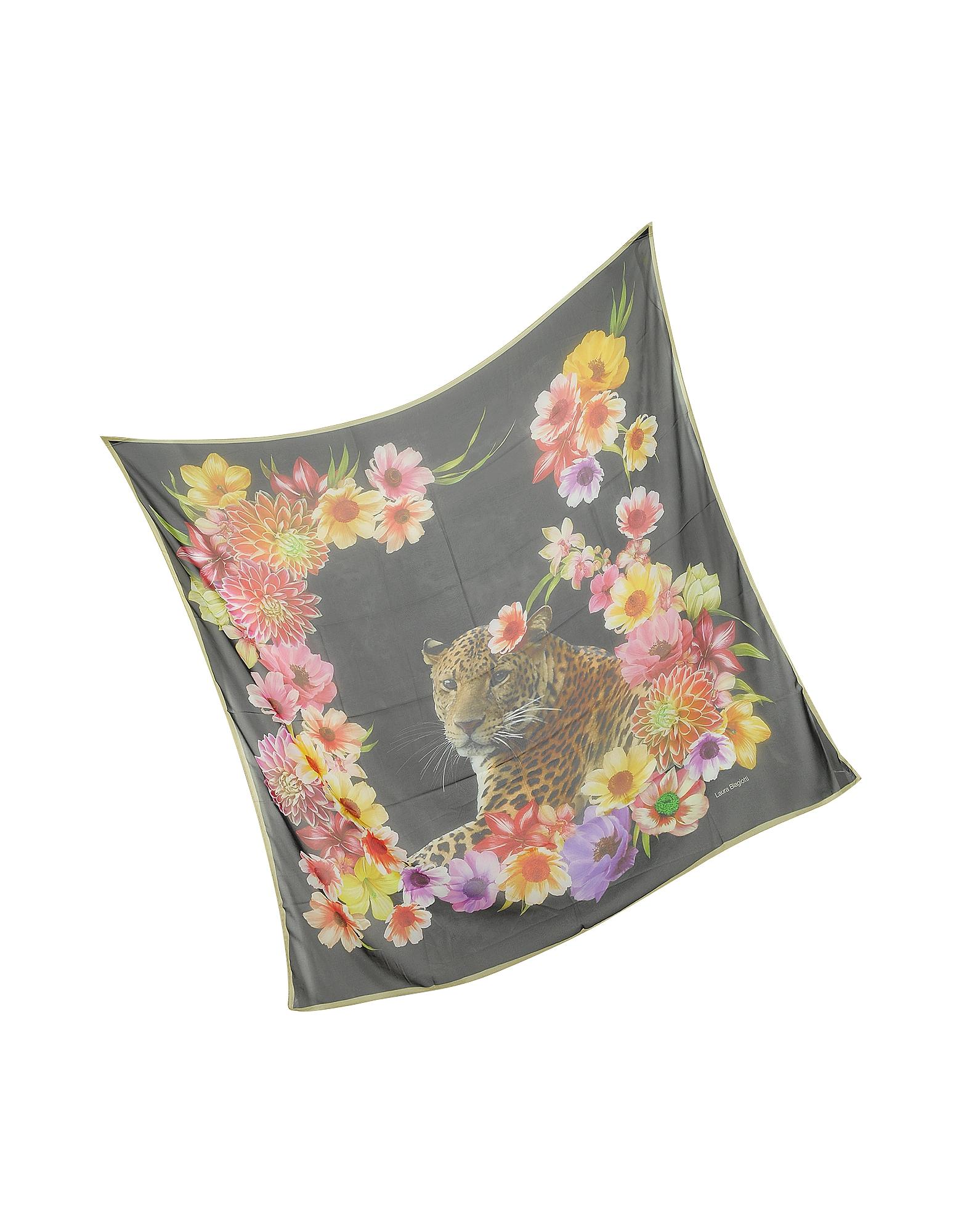 Black Leopard and Flowers Print Silk Shawl от Forzieri.com INT