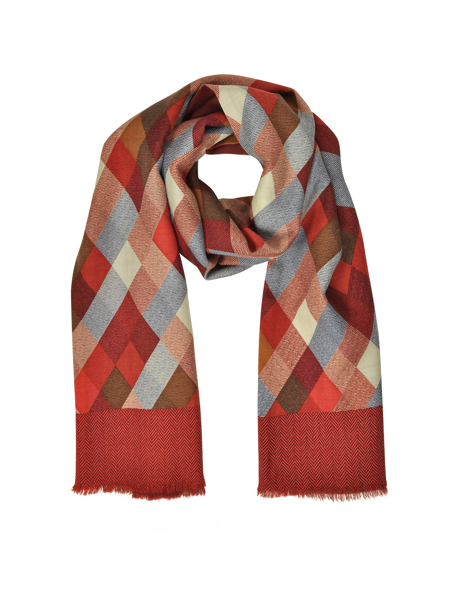 Laura Biagiotti Men's Scarves, Diamond Printed Wool, Silk and Cashmere Long Scarf