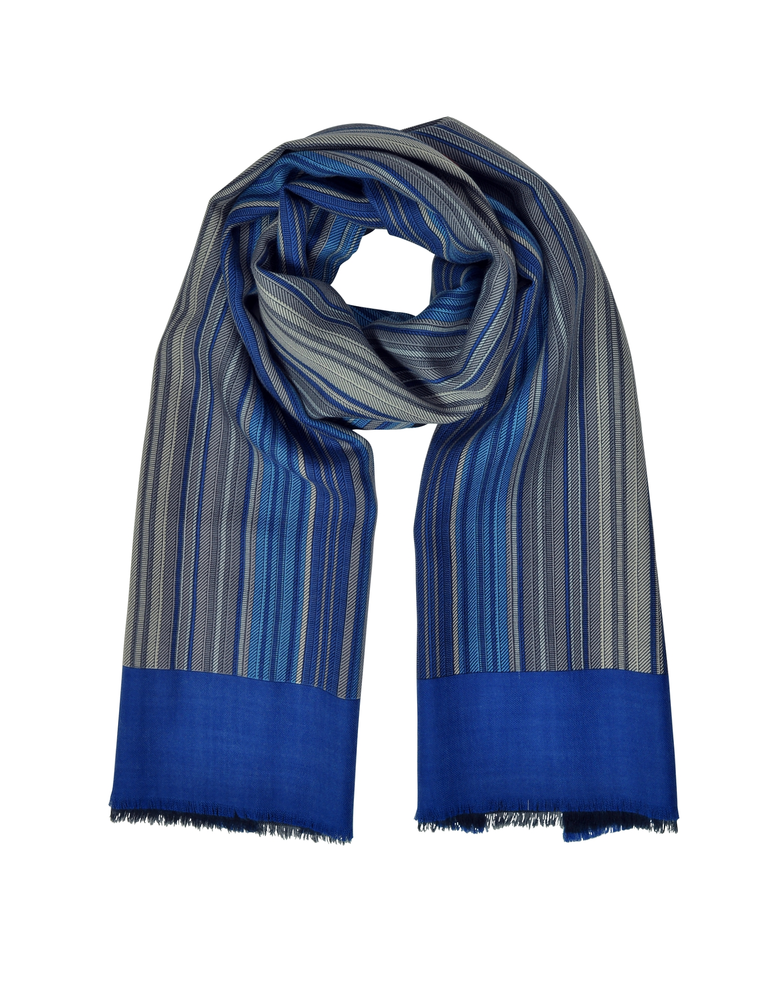 Image of Laura Biagiotti Designer Men's Scarves, Stripes Printed Wool, Silk and Cashmere Long Scarf