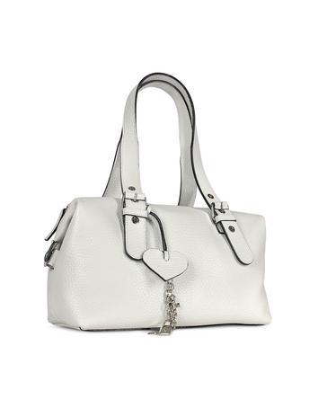 Maschera White Pebble Soft Calf Leather Satchel Bag