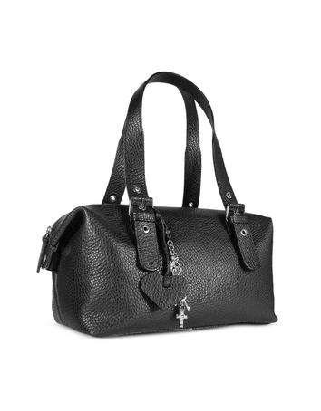 Maschera Black Pebble Soft Calf Leather Satchel Bag