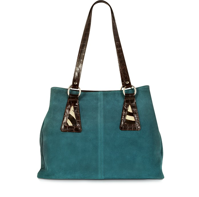 Suede and Animal Print Pony-Hair Tote - Maschera